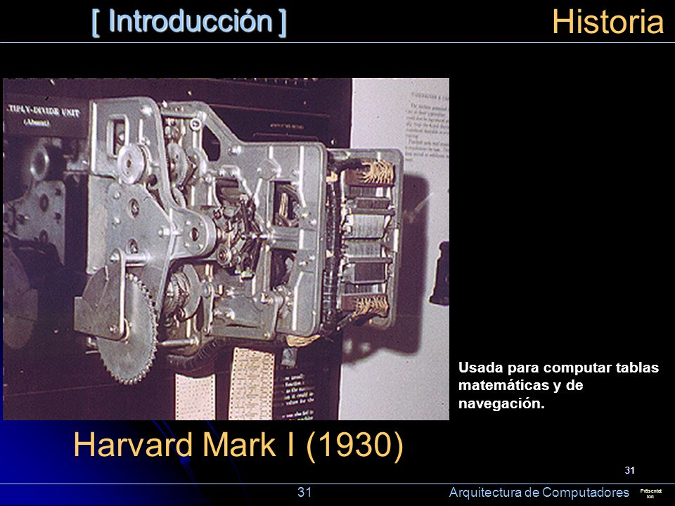 Historia Harvard Mark I (1930) [ Introducción ]